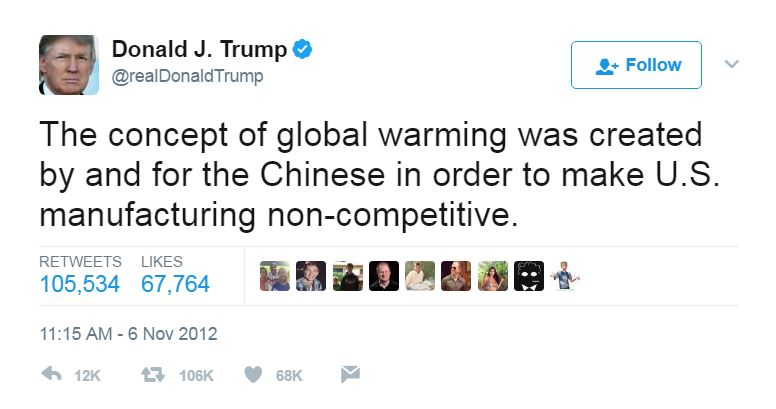 The concept of global warming was created by and for the Chinese in order to make US manufacturing non-competitive - Donald Trump, November 2012